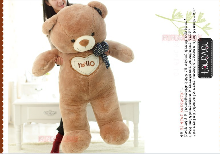 The lovely bow Teddy bear doll heart hello bear plush toy doll birthday gift brown about 130cm new cute plush brown teddy bear toy pink heart and bow bear doll gift about 70cm