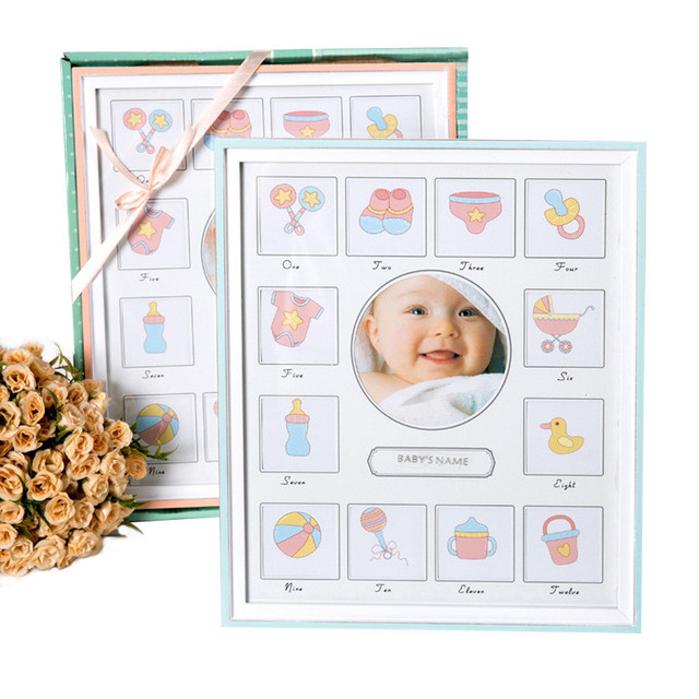Baby Growth Record Picture Frame Kid Memorial Wooden Classic Picture ...