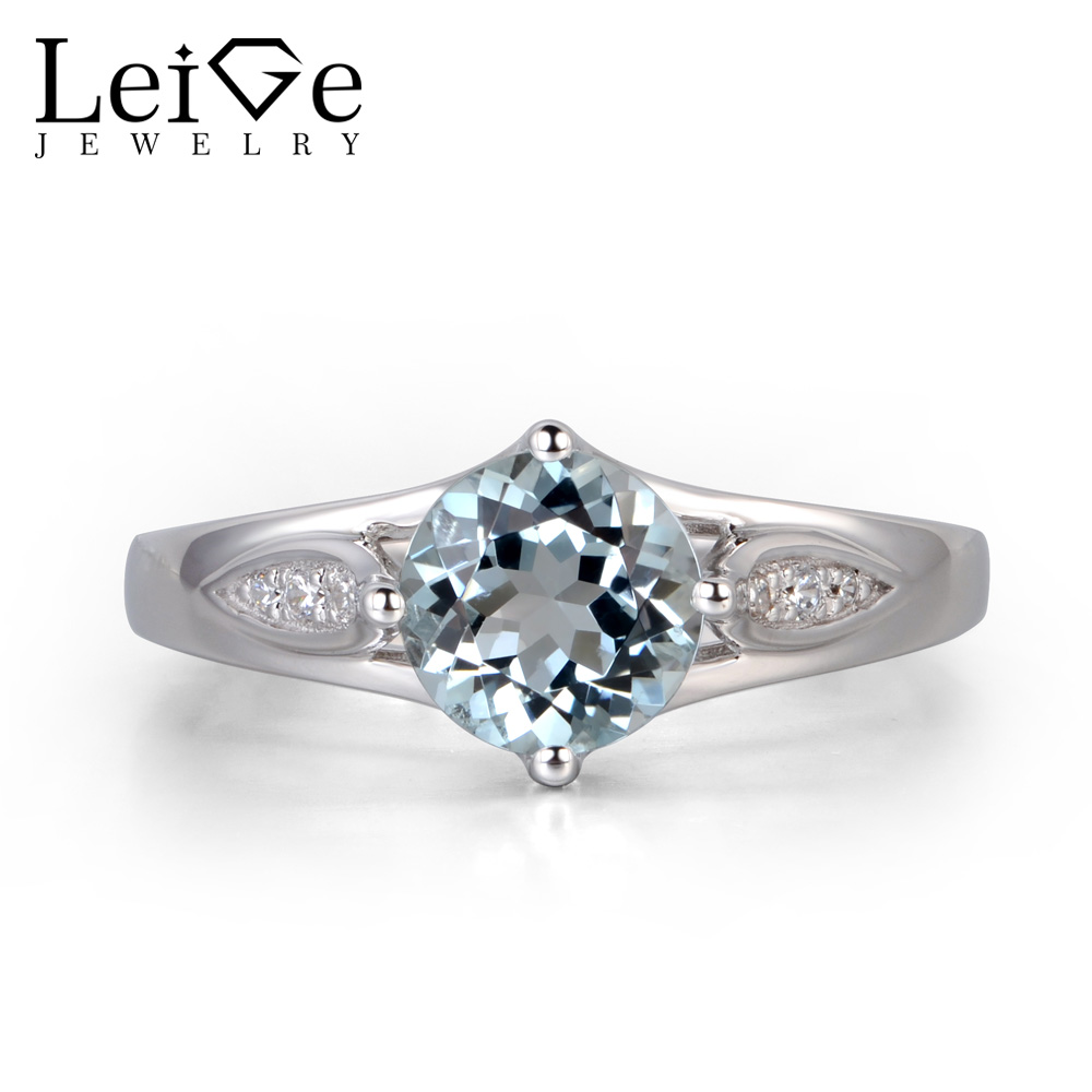 Leige Jewelry Natural Aquamarine Ring Wedding Engagement Rings for Women Blue Gemstone Jewelry Sterling Silver 925 Round Cut simple 925 sterling silver round rainbow natural moonstone rings for women girls wedding engagement jewelry finger bague aneis
