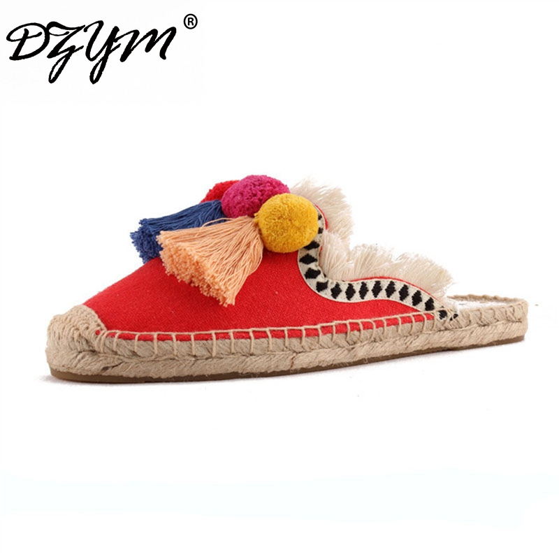 DZYM 2018 Summer Linen Flax Fishermen Shoes Cork Women Slides Hand-made Slippers Tassels Triple Chuzzle Mules Sapatos Femininos