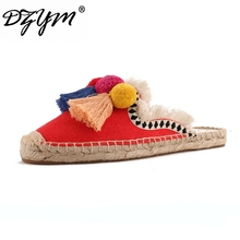 DZYM 2019 Summer Linen Flax Fishermen Shoes Cork Women Slides Hand-made Slippers Tassels Triple Chuzzle Mules Sapatos Femininos