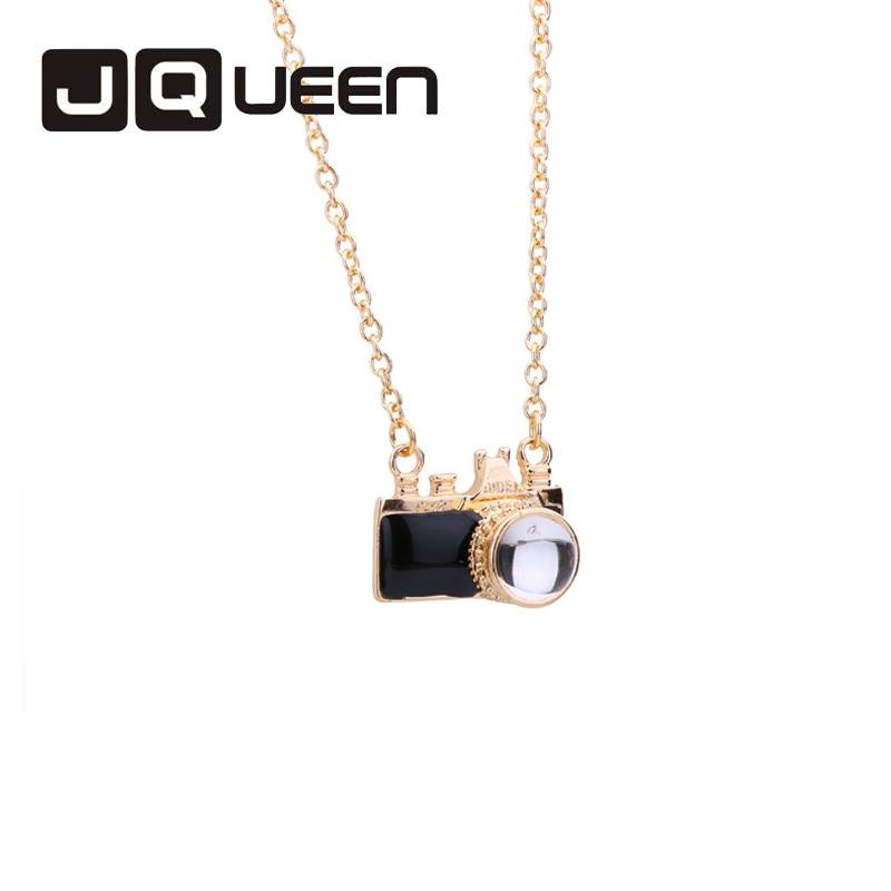 JQUEEN Trendy Necklances Camera Pendant Best Gift For Lover Women Unisex Black Colour Pink colour