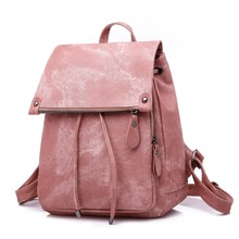 Women Fashion Leather Backpack Leisure Student Schoolbag Drawstring Satchel Shoulder Soft Mochila Feminina