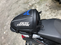 Carbon fiber Leather Back Seat Bag Waterproof Moto Motorcycle Tank Tool Tail Bag