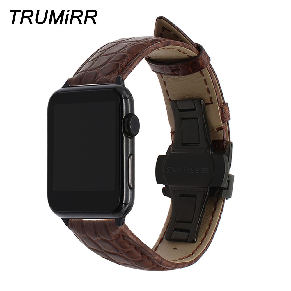 Genuine Alligator Leather Watchband for iWatch Apple Watch 38mm 40mm 42mm 44mm Band Steel Butterfly Buckle Strap Croco Bracelet genuine leather watchband adapters for 38mm 42mm iwatch apple watch band stainless steel pin buckle strap bracelet black brown