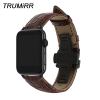 Genuine Alligator Leather Watchband for iWatch Apple Watch 38mm 40mm 42mm 44mm Band Steel Butterfly Buckle Strap Croco Bracelet