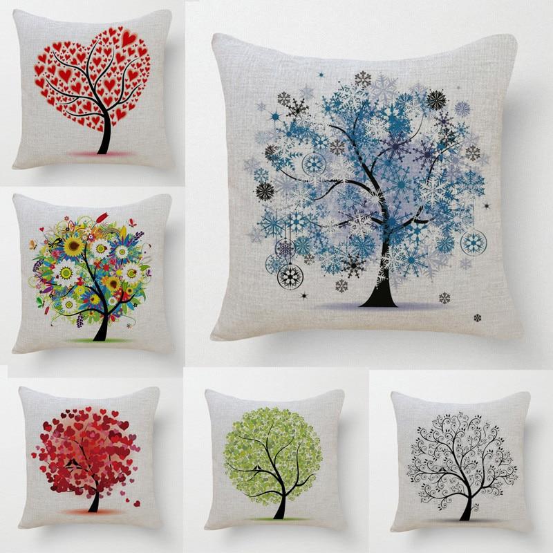 Decorative Throw Pillows Case Colorful Tree of Life Cotton Linen Cushion Cover For Sofa Home Decor Almofadas 45x45cm