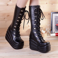 Big Size 34 43 Womens Fashion Punk Style White Black Cosplay Boots Square Toe Wedges Platform