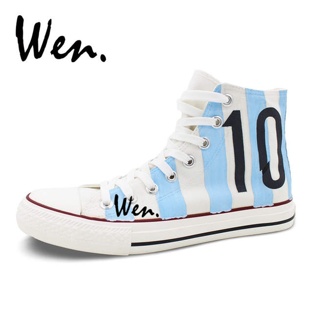 bde6ff89de9 Wen Design Argentina National Team Football Soccer Number 10 White  Skateboarding Shoes Hand Painted Shoes Unisex