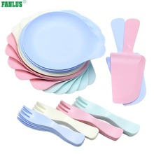 FANLUS Disposable Plastic Dessert Set Four color set Includes 5 Plates and 5 Forks , 1 Cake Knives, Deluxe Party Supplies Kit