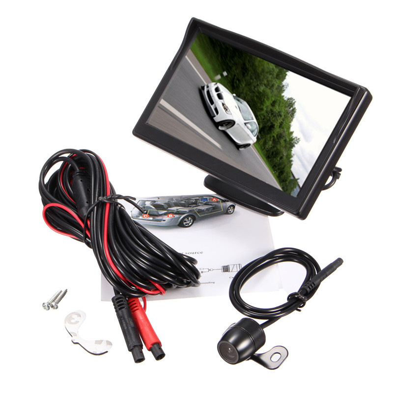 5 Inch TFT LCD Display Monitor Car Rear View Backup Reverse Monitor Screen + HD Parking Camera Night Vision diykit ir night vision ccd rear view car camera white 7 inch hd tft lcd car monitor reverse rear view monitor screen