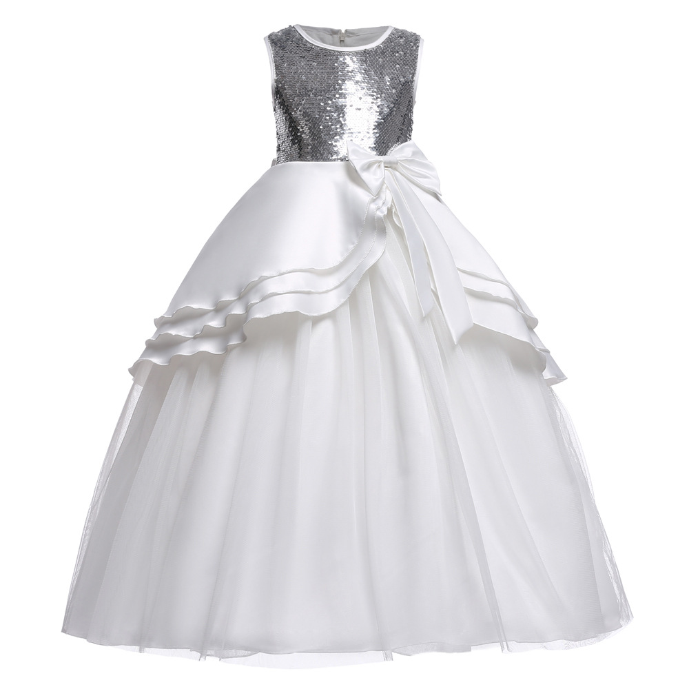 High Quality Princess Costume Dress Girls Wedding Party Graduation Gown White Children Sequin Flower Dress Bow-knot Teenage Suit 2017 new high quality girls children white color princess dress kids baby birthday wedding party lace dress with bow knot design