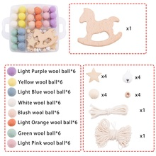 1Set Baby Crib Holder Rattles DIY Hanging Infant Mobile Bed Bells Toy Nursing Accessories Wool Ball Wooden Teethers Toys