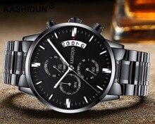KASHIDUN 2017 hombres de Acero Inoxidable Análogo de Cuarzo Relojes Casual Reloj Militar A Prueba de agua Multi-función de $ Number Horas de Tiempo de Calendario