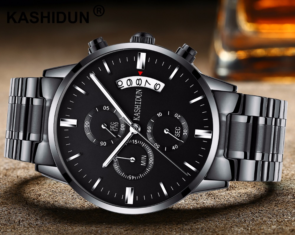 KASHIDUN 2017 Men s font b Watches b font Casual Quartz Analog Stainless Steel font b