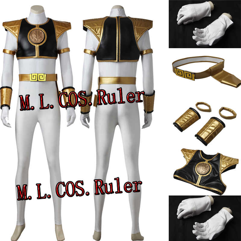 Custom Made Zyuranger White Ranger Tommy Oliver Mighty Morphin Cosplay  Costume Superhero Halloween Clothes Unsex Free Shipping