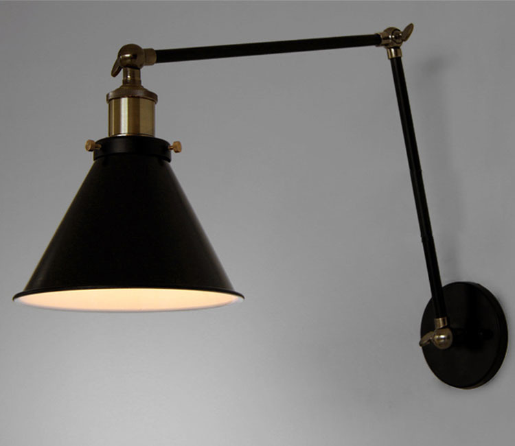 Antique Black Retro Industrial Adjustable Wall Lamp Long