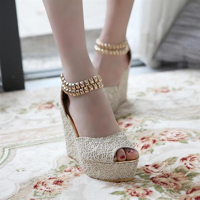 Fashion crochet lace wedges platform shoes gladiator style rivet anklets open toe platform high heel sandals