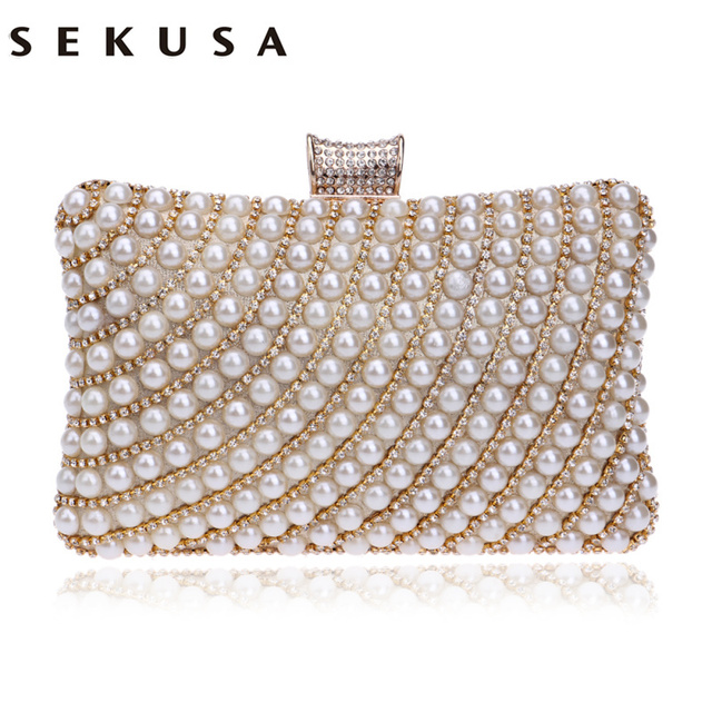 adbda6fd2 SEKUSA Diamantes De Metal Frisado Saco de Embreagem Da Noite bolsa de Ombro  Cadeia Bolsas Femininas