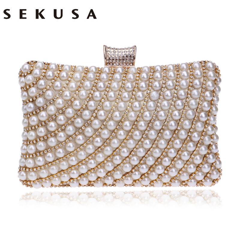 SEKUSA Metal Diamonds Beaded Evening Clutch Bag Chain Shoulder Women Handbags Pearl Rhinestones Evening Party Holder Purse sekusa pu fashion women diamonds luxurious evening bags clutch messenger shoulder chain handbags purse beaded wedding bag