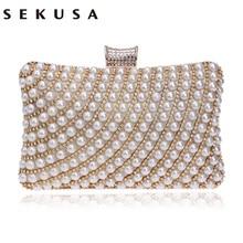 SEKUSA Metal Diamonds Beaded Evening Clutch Bag Chain Shoulder Women Handbags Pe