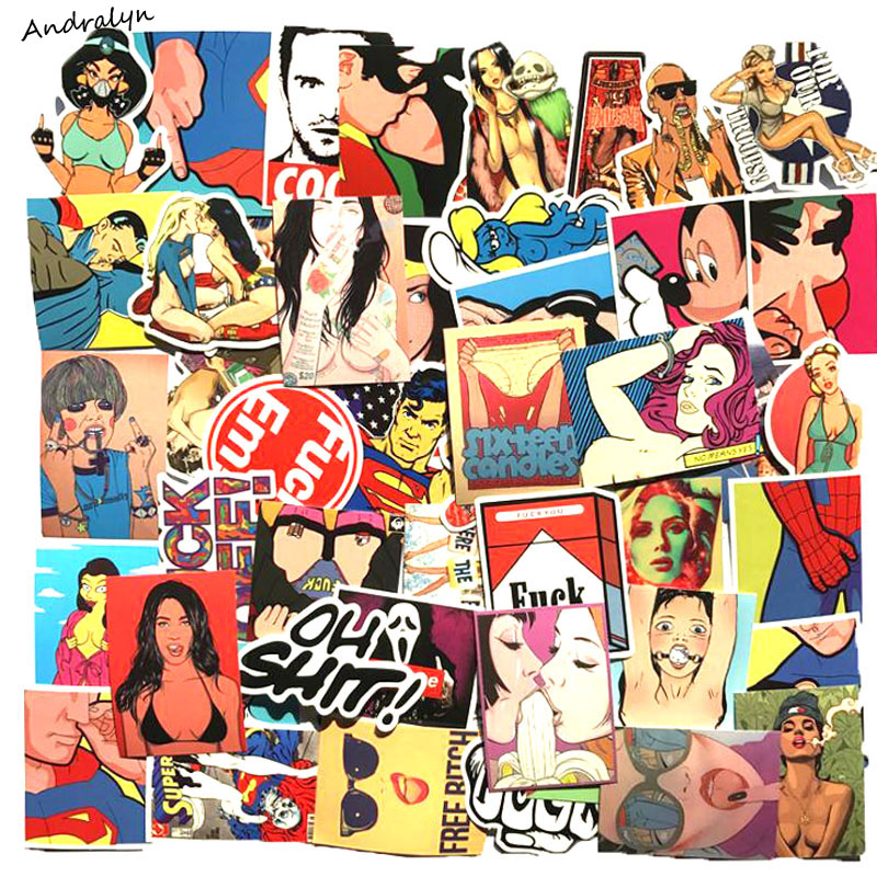 52pcs/lot DIY Stickers Violence Sexy Vulgar For Skateboard Laptop Luggage Snowboard Fridge Phone Toy Styling Home Decor Stickers