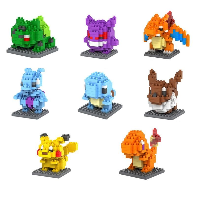 12 Colour Poke Pikachu Building Blocks Anime Model Figures Toys Kids Gife  Shipping With Original Retail Box