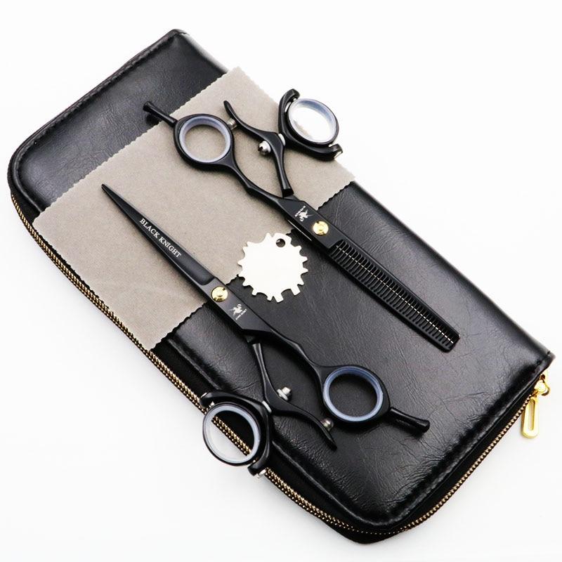 cavaleiro preto profissional cabeleireiro tesoura anel rotativo 6 polegada tesoura de corte tesoura de desbaste 2
