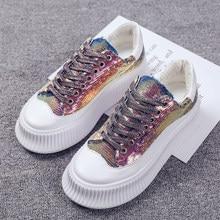 0e357a1f COOTELILI wiosna kobiet Sneakers płaskie platformy buty w stylu casual kobieta  mieszkania Bling Lace Up damskie