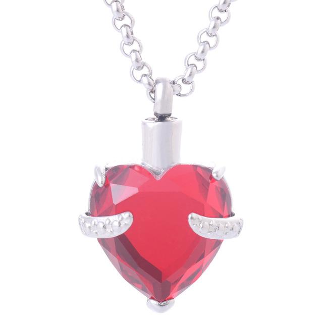 Mulheres Big coração de cristal vermelho Birthstone pingentes colares aço inoxidável jóias Ash urnas de cremação colar lembranças IR174