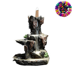 lofty mountains and flowwater smoke backflow incense burner ceramic rockery Creative ornaments censer antique incense burner Q $