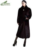 Зима женщин среднего возраста верхняя одежда новая мода имитация норки меховая куртка пальто женские большие размеры длинные утолщение те...