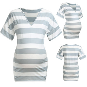 Maternity Clothes Women Maternity Stripe Print V-neck T-Shirt Top Pregnancy Casual Clothes Blouse Pregnant Clothes Summer 2019