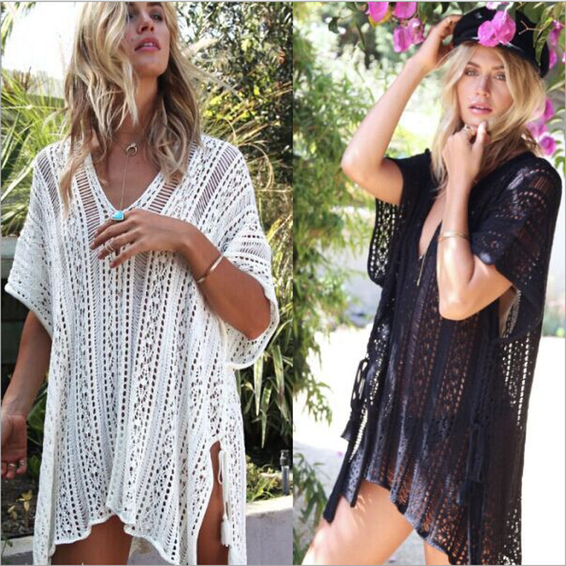 Women 39 s Bathing Suit Cover up Beach Bikini Swimsuit Swimwear Crochet Bikini Cover Up Lace Hollow Swimsuit Beach Dress Female in Cover Ups from Sports amp Entertainment