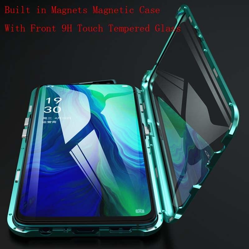 Luxe Magnetische Gevallen Telefoon 360 Metel Full Body Beschermende Dubbelzijdig Gehard Touch Glas Cover Voor Oppo Reno 6.4 Inch Ks0163