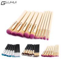 GUJHUI Professional 10pcs Makeup Brushes Tool Kit Soft Synthetic Hair Face Foundation Powder Eyeshadow Oval Contour