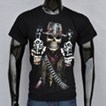 New Fashion Men Summer T-shirt Guns And skulls Printed Creative 3D Skull male short-sleeved Black Active T-shirt Free Shipping
