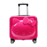 18 ''20'' HK милый кот 3D мультфильм 360 градусов spinner Прокатки камера Набор дорожного чемодана чемодан koffer