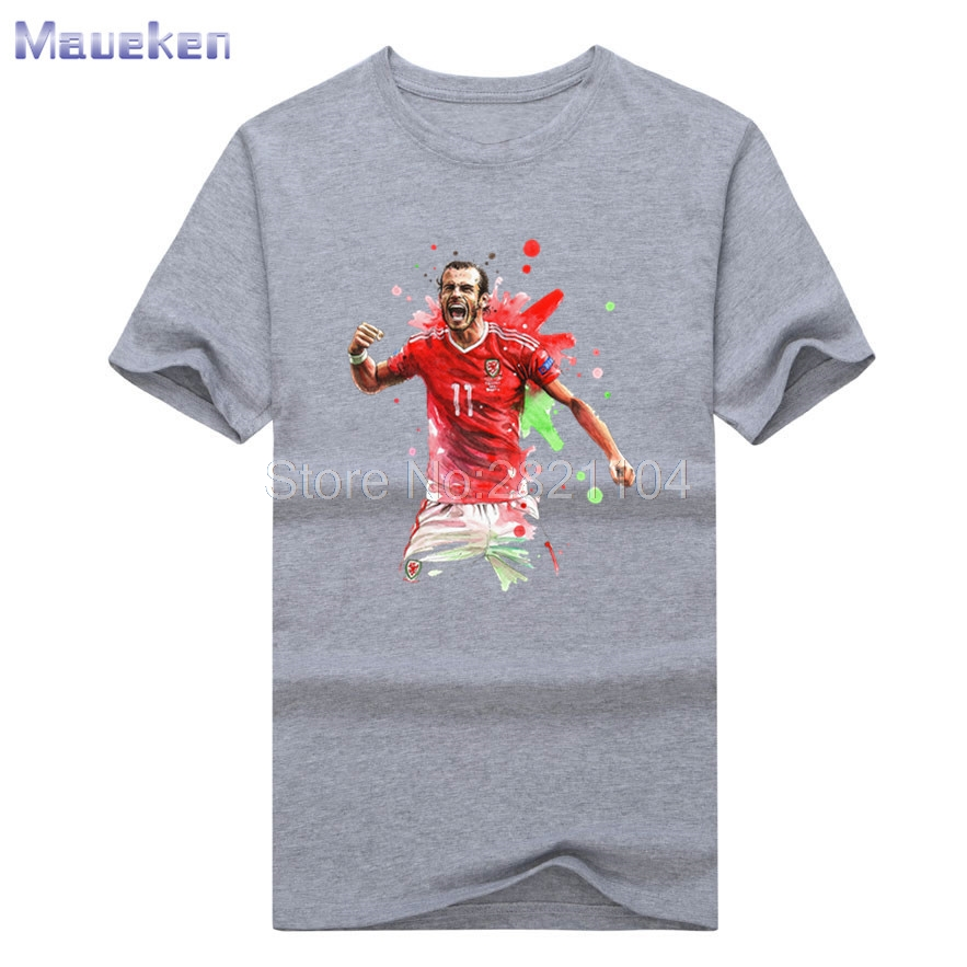 New Gareth Bale tee 2017 Custom funny t-shirt 100% cotton T Shirt Man casual for wales fans gift 0628-2