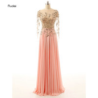 Sheer Back Chiffon See Through A Line Floor Length Custom Made Long Sleeves Formal Evening Dresses For Wedding Party
