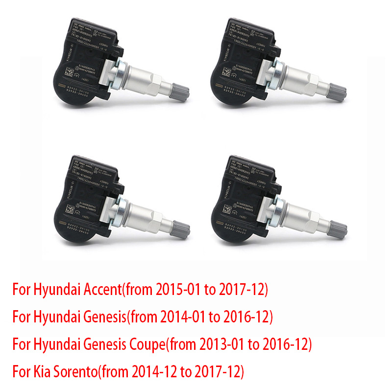 4x TPMS Tire Pressure Monitoring Systems Tpms Sensor For Hyundai Accent Genesis / Coupe Kia Car Security 52933-3N100 <font><b>529333N100</b></font> image