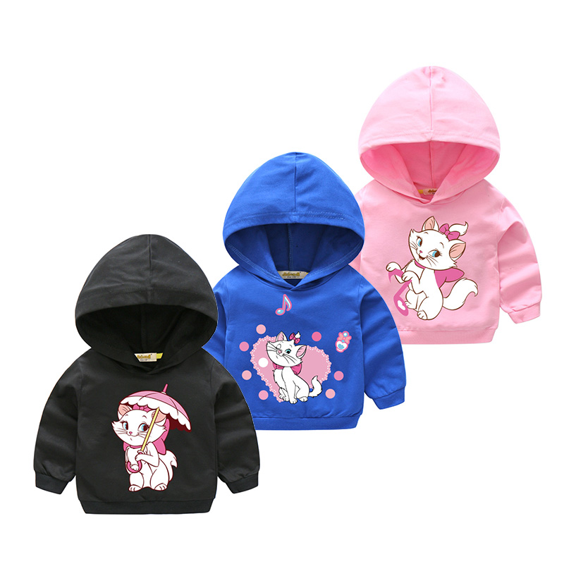 2018 Girl Spring Outdoor Hooded Clothes For Kids Long Sleeve Hoody Baby 100%Cotton Hoodies Children Marie Cat Sweatshirts HD010