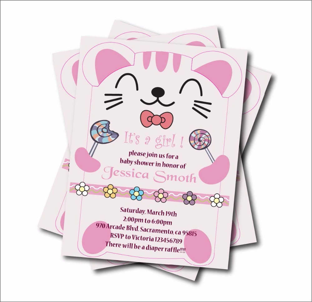 20 pcs/lot Personalized Cute Cat girl Baby Shower Party Invitations ...