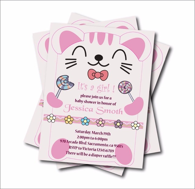 20 pcslot personalized cute cat girl baby shower party invitations 20 pcslot personalized cute cat girl baby shower party invitations birthday invites party decoration filmwisefo