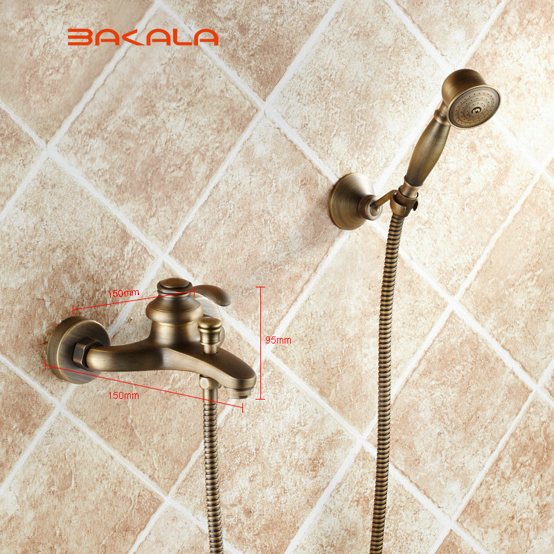 BRONCE FAUCET  Wall Mounted shower faucet Bathroom Bathtub Handheld Shower Tap Mixer Faucet GZ8301 bathroom handheld shower head faucet mixer tap copper bathtub faucet shower chrome wall mounted waterfall shower faucet set