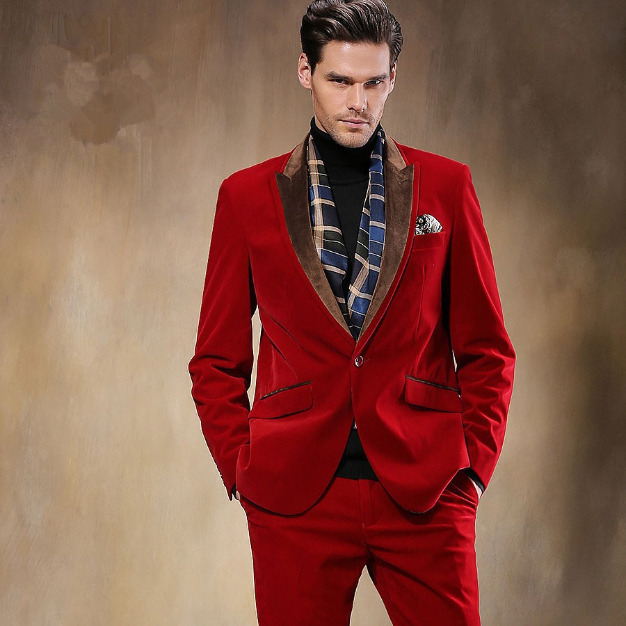 2017 Autumn Winter Black Red Velvet Man Suit 2 Piece Mens Wedding ...