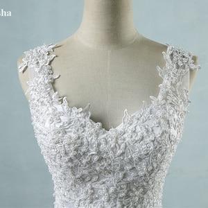 Image 5 - Vestido de baile para noivas, vestido de casamento elegante, branco marfim, com borda no pescoço, tamanhos grandes zj9076 2019 2020