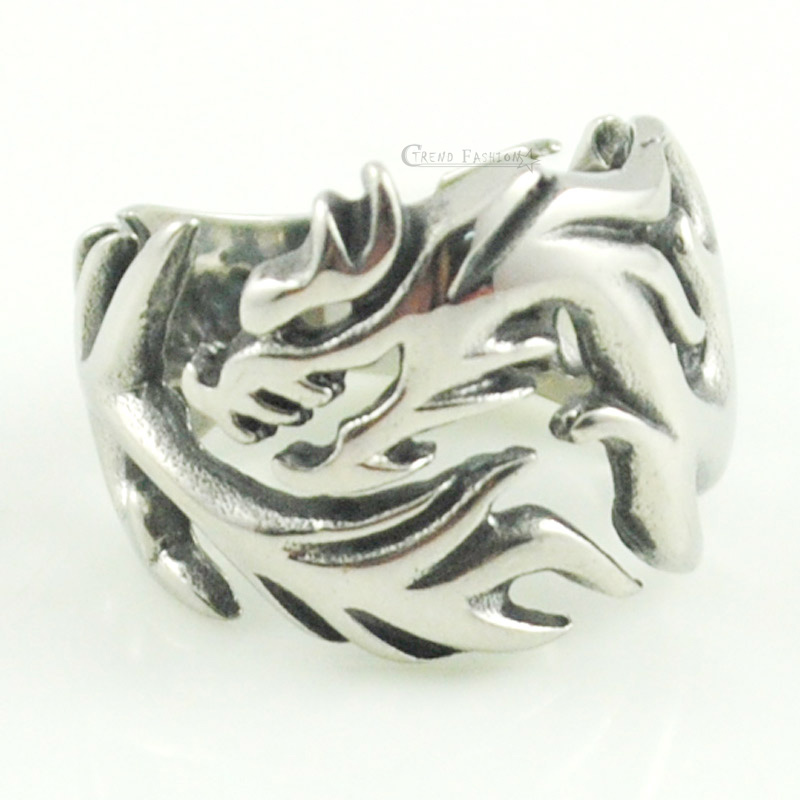 Moorvan Punk Cool Mens Blaze Wolf Ring jewelry for gift Stainless Steel Accessory FREE SHIPPING VR300 ...