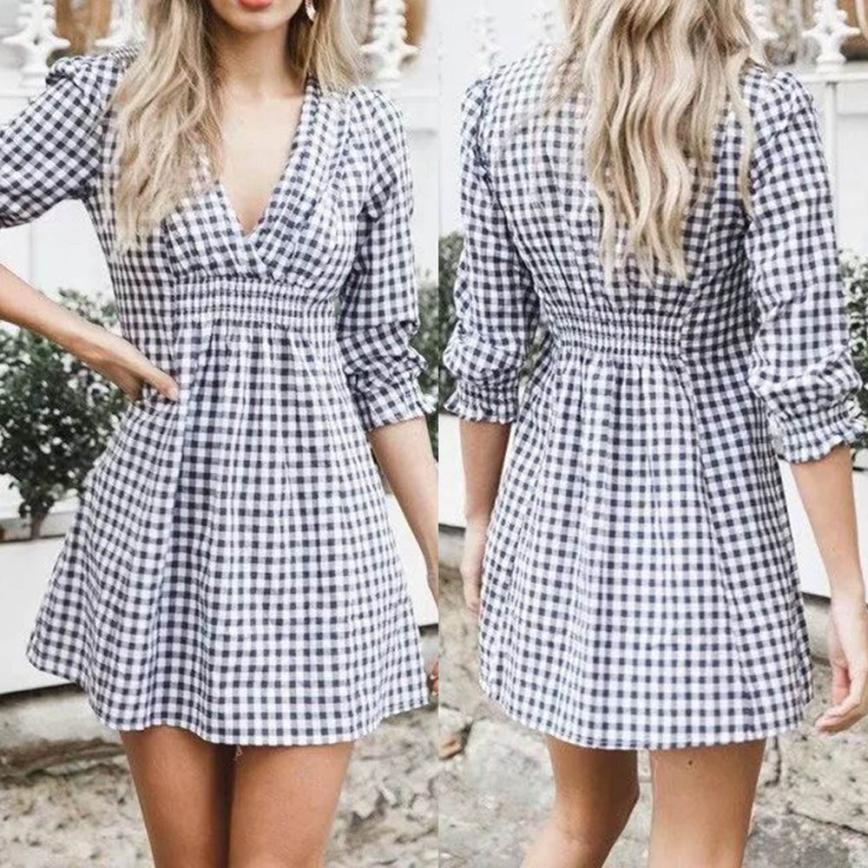 Casual V-Neck Styled Plaid Dress 1