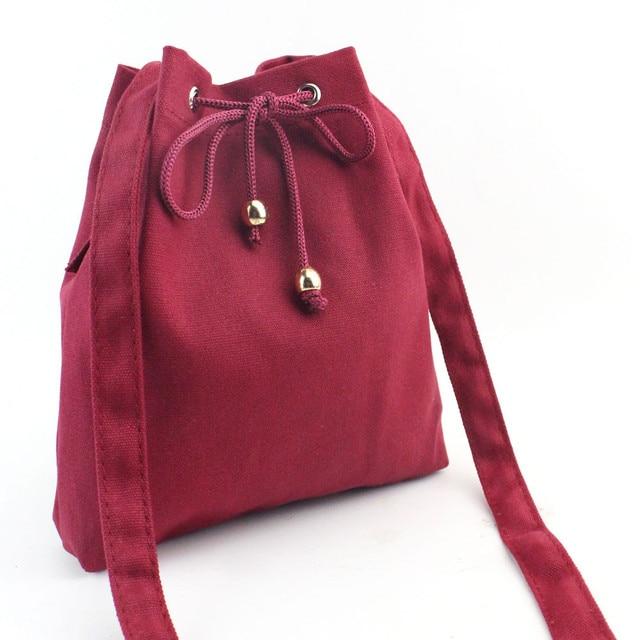 Women Fashion Canvas Drawstring Handbag Shoulder Bag Large Tote Ladies Retro Purse Vintage Messenger HandBags Black bolsos mujer